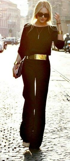 Black jumpsuit  With a gold belt and bracelets #Streetchic