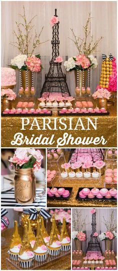 Paris themed bridal shower is amazing! Lots of pink and gold details! See more party planning ideas at !This Paris themed bridal shower is amazing! Lots of pink and gold details! See more party planning ideas at ! Paris Bridal Shower, Paris Baby Shower, French Bridal Showers, Thema Paris, Paris Wedding, Paris Themed Weddings, Paris Themed Parties, Parisian Wedding Theme, Paris Themed Cakes