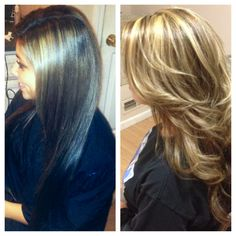 Before  after of a full highlight! Brunette to blonde in one process! - Lindsay Bednarz, Jules Salon, Watertown CT.  Instagram: @linny_lo0o