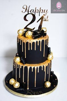 2 Tier Black And Gold Cake Birthday 21st For