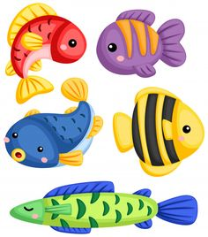 a vector collection of many fishes , Fish Clipart, Fish Vector, Cartoon Drawings, Animal Drawings, Seahorse Cartoon, Card Games For Kids, Cute Fish, Baby Unicorn, Bible For Kids