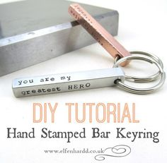 DIY Tutorial: Hand Stamped Bar Keyring by Ria #diy #stamping_tutorial #jewelry_making _tutorial