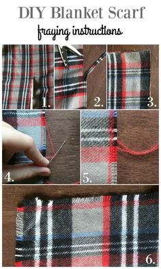 diy no sew blanket scarf tutorial and how to fray the edges.