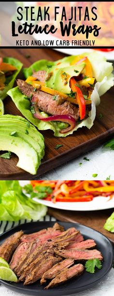 Frugal Food Items - How To Prepare Dinner And Luxuriate In Delightful Meals Without Having Shelling Out A Fortune Steak Fajitas Lettuce Wraps Beef Recipes, Mexican Food Recipes, Low Carb Recipes, Cooking Recipes, Steak Wraps, Easy Lettuce Wraps, Lettuce Wrap Recipes, Steak Fajitas, Chicken Fajitas