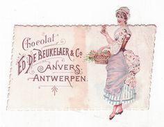 Chromo Publicitaire - Chocolat De Beukelaer Anvers - Découpis - Femme - fleur