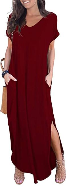 GRECERELLE Women's Casual Loose Pocket Long Dress Short Sleeve Split Maxi Dresses at Amazon Women's Clothing store Casual Dresses, Short Sleeve Dresses, Summer Dresses, Women's Casual, Maxi Dresses, Short Sleeves, Beach Dresses, Flowy Midi Dress, Maxi Dress With Sleeves