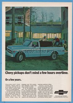 1969 Chevrolet C20 Chevy Fleetside Pickup Truck General Motors GM car photo ad
