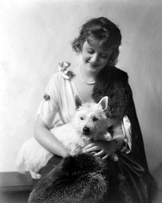 Billie Burke (Glinda the Good Witch in The Wizard of Oz)with a westie