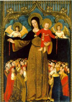 Our Lady of Mercy. Happy Feast Day 9/24. Usually the Virgin is standing alone, though if angels hold up the cloak she is free to hold the infant Christ. The people sheltered normally kneel, and are of necessity shown usually at a much smaller scale.