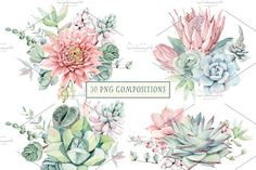 """I""""ve been in love with succulents long ago. It's a pleasure to paint them. I know that you also love succulents:) My new set is Yard Wedding, Watercolor Succulents, Find Objects, Graphic Illustration, Illustrations, Social Media Logos, Graphic Design, Make It Yourself, Drawings"""