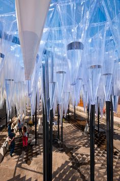 GUN architects: water cathedral 'water cathedral' by GUN architects, santiago, chile image guy wenborne; YAP CONSTRUCTO courtesy constructo all images courtesy GUN architectsopen to the sky, plastic cones capture water and slowly release drops over Fabric Canopy, Diy Canopy, Canopy Tent, Ikea Canopy, Window Canopy, Garden Canopy Lighting, Canopy Lights, Backyard Canopy, Canopy Outdoor