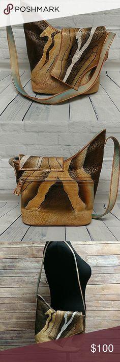 Magnifique Bag Beautiful leather handpainted bag.  Great condition.  New. Has some metallic copper trim Magnifique Bags Shoulder Bags