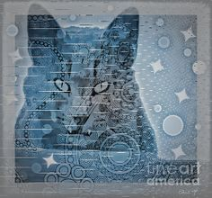 Abstract Art. Feral Cat Portrait in Blue designs.