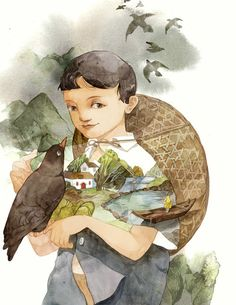 jpg A Very Special Pigeon - cover art for Cao Wenxuan's story Love Painting, Pictures To Paint, Film Posters, Pigeon, Gouache, Cover Art, Watercolor Paintings, Illustration, Watercolour Paintings