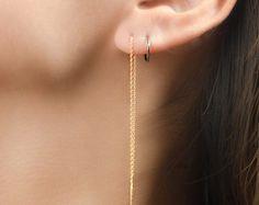 Long Chain Earrings Rose Gold Threader Earrings by lunaijewelry