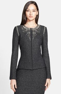 St. John Collection Metallic Box Tweed Knit Jacket with Hand Beaded Neckline available at #Nordstrom