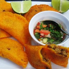 Colombian Empanadas--not to be biased but out of all the ones I've tried, we have the best.Cuban empanadas are close tho ; Colombian Dishes, My Colombian Recipes, Colombian Cuisine, Comida Latina, Latin Food, International Recipes, So Little Time, Mexican Food Recipes, Love Food