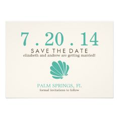 Stylish save the date announcements perfect for a summer or tropical destination themed wedding feature a beautiful illustration of a sea shell and are available in many color variations. Visit our store for more color options and matching products. #wedding #save #the #date #beach #summer #tropical #destination #colorful #ocean #nautical #seashell #whimsical #casual #sea #shells