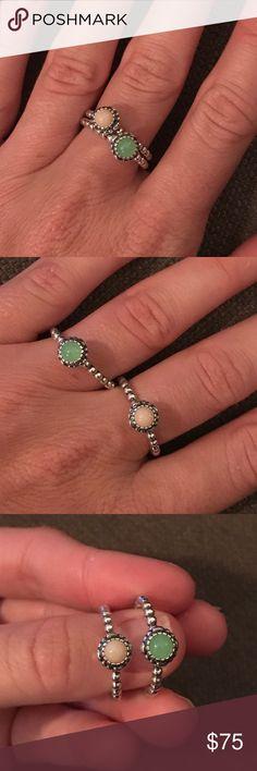 Pandora rings 2 rings Like new pandora rings size 60 (both rings) Pandora Jewelry Rings