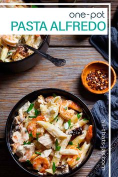 This one-pot penne pasta cooked in a creamy homemade Alfredo sauce with rotisserie chicken and pre-cooked shrimp is a fast and easy recipe for the busy home cook! | allthatsjas.com | #pastaalfredo #penne #chicken #shrimp #homemadealfredosauce #pasta #dinner #quickandeasy #allthatsjas #recipes #onepotmeals #Dutchoven One Pot Chicken, Chicken And Shrimp Pasta, One Pot Pasta, Penne Pasta, Creamy Chicken, How To Cook Shrimp, How To Cook Pasta, Home Made Alfredo Sauce, Best Potato Soup