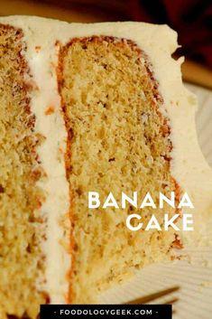 Sometimes banana cake tastes like banana bread. This cake is a super moist and light homemade banana cake. #bananacake Pecan Cookie Recipes, Banana Recipes, Easy Cake Recipes, Best Dessert Recipes, Desserts, Sweet Recipes, Cake Mix Banana Bread, Best Banana Bread, Banana Cakes