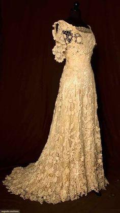Vintage 1908 Irish wedding gown - lace overlay style