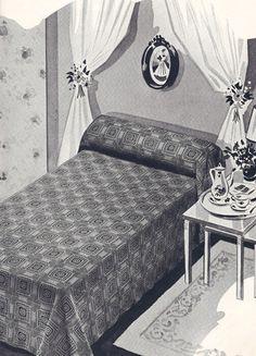"""Vintage filet crochet """"Berkeley Square"""" bedspread pattern for sale on Vintage Home Arts"""