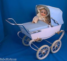 Vintage FAO Schwarz Baby Carriage RED Made in France: 4 Ginette, Baby Genius +
