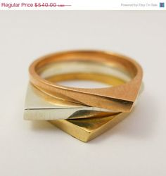 ON SALE Modern ring stack, Geometrical stack ring, Solid gold stack ring, Triangle 14 karat gold stack band, Thin wedding bands set, Tricolo by noafinejewelry on Etsy https://www.etsy.com/listing/194239999/on-sale-modern-ring-stack-geometrical