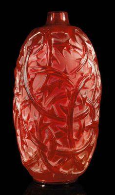 RONCES VASE, NO. 946 designed 1921, red intaglio R. LALIQUE