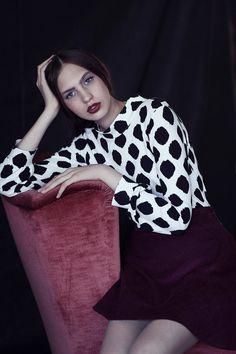 Long sleeve shirt , Winter top, Polka dot shirt, Women shirt, turtle neck top, Elegant top