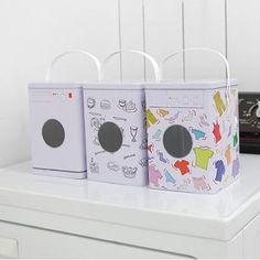 Washing Powder Storage Tin Box Decorative Laundry Machine Shaped Detergent 3type