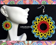 Your place to buy and sell all things handmade Beadwork Designs, Beaded Jewelry Designs, Jewelry Patterns, Bead Patterns, Diy Jewelry, Handmade Jewelry, Etsy Earrings, Round Earrings, Bead Earrings