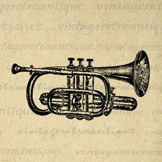 Printable Digital Cornet Trumpet Graphic Music Instrument Download Band Image Vintage Clip Art Jpg Png Eps 18x18 HQ 300dpi No.1115 @ vintageretroantique.etsy.com
