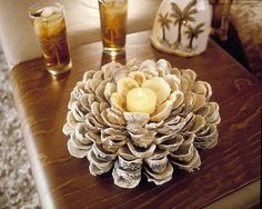 Ever wonder what to do with oyster/sea shells that your kids find on a beach? Wala! Cute centerpiece with candle stuck in middle!