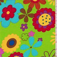 Lime Green Floral Challis