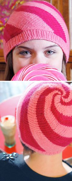 Free Knitting Pattern for Lollipop Hat - The candy colored swirls in this beanie are created with diagonal knitting and short row shaping. Designed by Brittany Tyler.