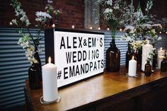 Best DIY wedding details of 2015 / wedding lightbox with instagram hashtag