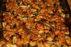 Tavaszi tepsis csirkemell - Szem-Szájnak Cauliflower, Shrimp, Salsa, Chicken, Vegetables, Ethnic Recipes, Food, Cauliflowers, Essen