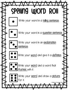 Spelling Word Roll - Word Work / Word Study Center - Fundations Activity - Word Practice - Reading Rotation Center - Independent Spelling Practice using Dice - Spelling Fun - 3 Types of sentences - Language Arts: 3rd Grade Spelling, 3rd Grade Words, Spelling Practice, Spelling Words, Grade 2, Second Grade, Scrabble Spelling, Spelling Word Activities, Spelling Centers