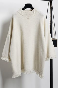 Round Neck 3/4 Sleeve Fringed Sweater