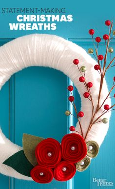 Welcome your guests with a stunning Christmas wreath! We have hundreds of styles for any personality:  http://www.bhg.com/christmas/wreaths/christmas-wreaths/?socsrc=bhgpin120213christmaswreaths