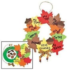 """Makes 12 wreaths. Celebrate fall and decorate your door with this wreath craft project. Kids can write what they are thankful for on the leaves. Foam. 8"""" All cr"""