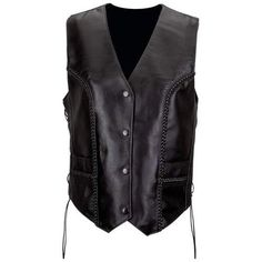 AWESOME Solid Leather Ladies Braided Vest! $59.99 Free Shipping!