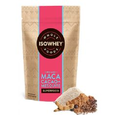 Isowhey Wholefoods Maca Cacao + Mesquite Powder is an organic blend high in minerals.  Isowhey Wholefoods Maca Cacao + Mesquite Powder combines natural ingredients for extra goodness.