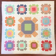 """""""""""FLOWER BOX"""" table topper quilt before it was quilted.  Another Farm Girl Vintage sneak-ity peek-ity. I used my Sunny Sunflower block from my Quilty…"""""""