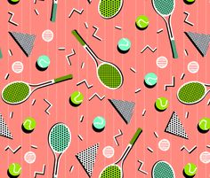 80s Tennis Lesson by Andrea Lauren fabric by andrea_lauren on Spoonflower - custom fabric