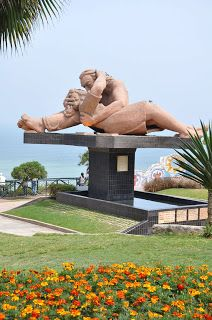 """Statue on the Promenade, Lima, Peru **** I was there in 1993 and this statue was being built.....""""El Parque del Amor"""" J.B. ♥"""