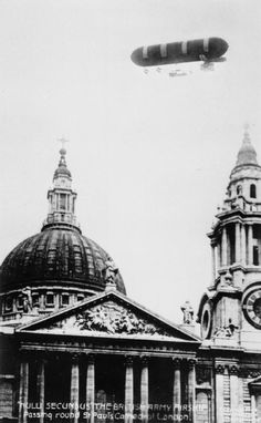 The Airship Nulli Secundus I, circling St Paul's Cathedral in London during its record breaking flight from Farnborough to London. 1907