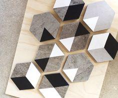 Hexagon Geo MINI BLOCKS (creative, decorative tiles, stone, grey, hexagon coasters, trivets, blocks, hand painted, art, home styling, decor). #fluidpainting #handmade #miniblocks